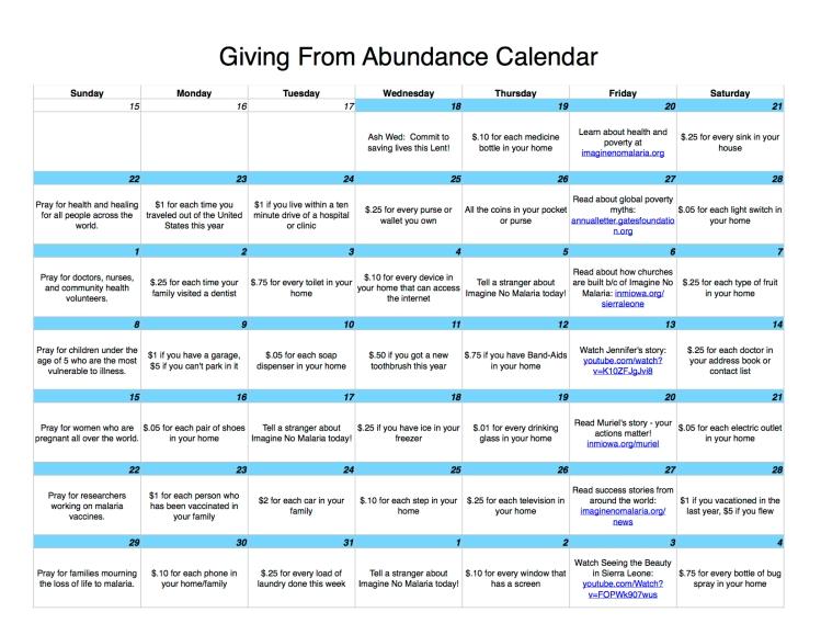 Giving From Abundance Calendar